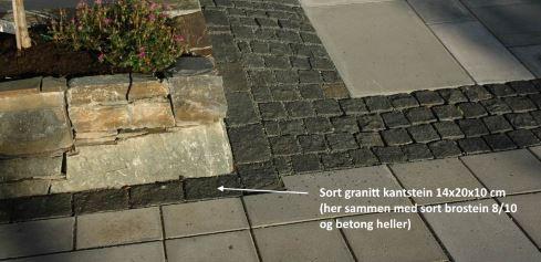 Sort Granitt Kantstein 14x20x10