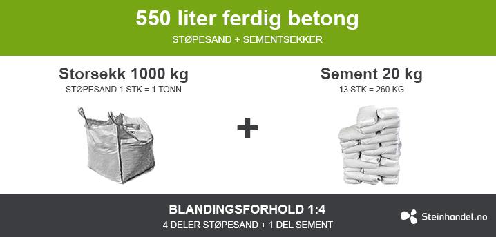 Betong for selvblanding, 550L