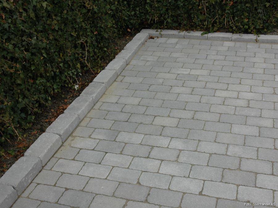 Multiblokk Kubbemur Kantstein Flammet Grå/Koks