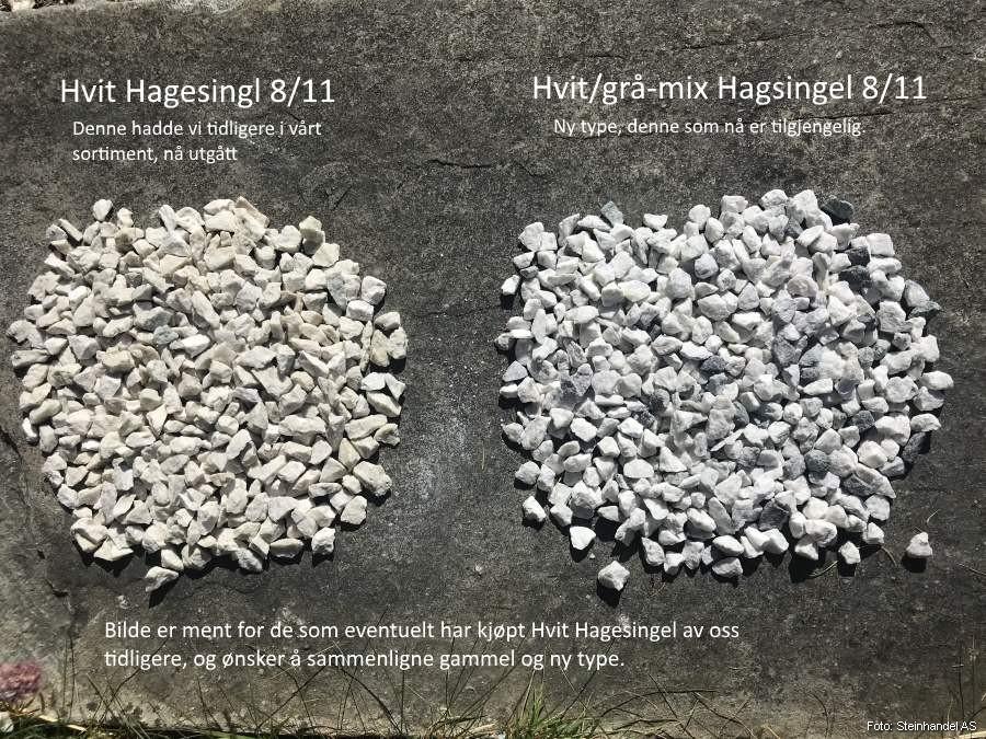 8eac488b9 Hvit/grå-mix Hagesingel 8/11 i Storsekk